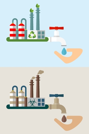 environmen: Industrial plant and water with toxic waste. Environmentally friendly plant and water purification system.Ecology design concept with air, water, soil pollution. Flat isolated vector illustration.