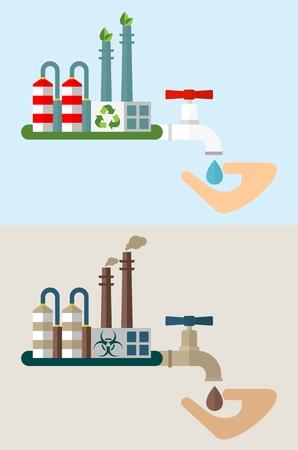 residuos toxicos: planta industrial y el agua con residuos t�xicos. El medio ambiente y la planta de purificaci�n de agua system.Ecology concepto de dise�o con el aire, el agua, la contaminaci�n del suelo. ilustraci�n vectorial aislado plana.