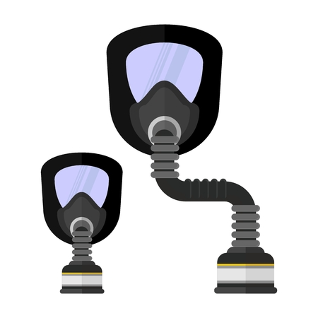 work clothes: Gas mask. Conceptual image of the objects of chemical protection. Work clothes for chemical protection. Cartoon flat vector illustration. Objects isolated on a white background. Illustration
