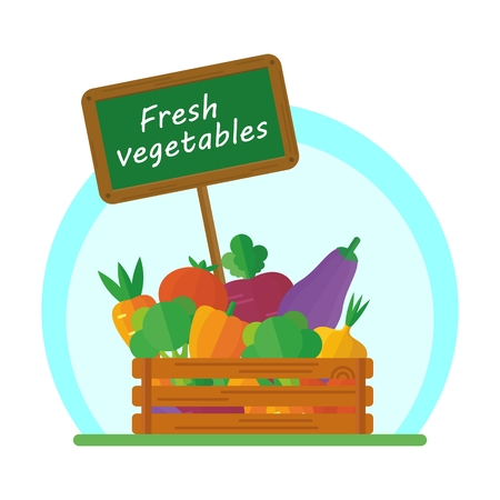 beets: Vegetables in a box for sale at the market. Carrots, beets, onions, cabbage. Vegetables for a vegetarian health food. Farmers and gardeners agriculture concept cartoon flat vector illustration. Objects isolated on a background.