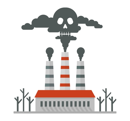 environmen: Deadly smoke in the air. Poisonous plant emissions poison the atmosphere. Ecology design concept with air, water and soil pollution. Flat icons isolated vector illustration. Illustration
