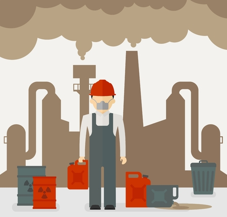 environmen: Building industrial and worker of plants polluting the environment.Toxic waste from oil extraction.Ecology design concept with air, water and soil pollution.Flat icons isolated vector illustration. Illustration