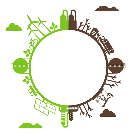 environmen: Solar energy, wind energy. Dirty city, factories, air pollution, landfill. Earth Day. Ecology design concept with air, water and soil pollution. Flat icons isolated vector illustration.
