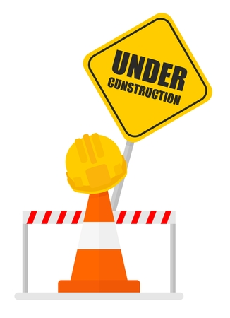 Warning sign under construction Traffic warning barricades and cones. Cartoon flat vector illustration. Objects isolated on a background.  イラスト・ベクター素材