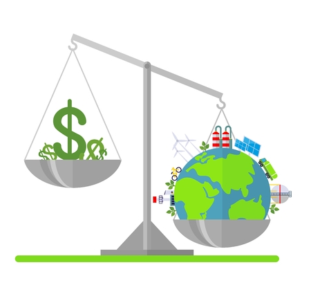 environmen: Money and the planet earth on scales. Cartoon flat vector illustration. Objects isolated on a background.
