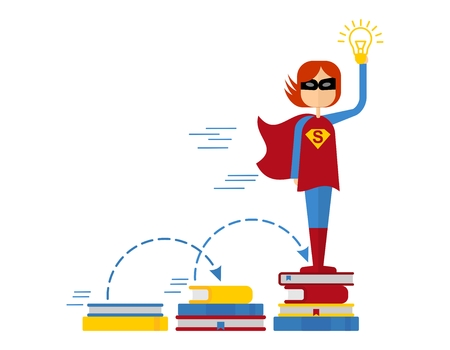 generates: Female superhero gets education. Girl Superman generates ideas. Conceptual image of success and leadership.Cartoon flat vector illustration. Objects isolated on a background. Illustration