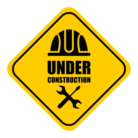 Warning sign under construction. Logo concept. Cartoon flat vector illustration. Objects isolated on a background.