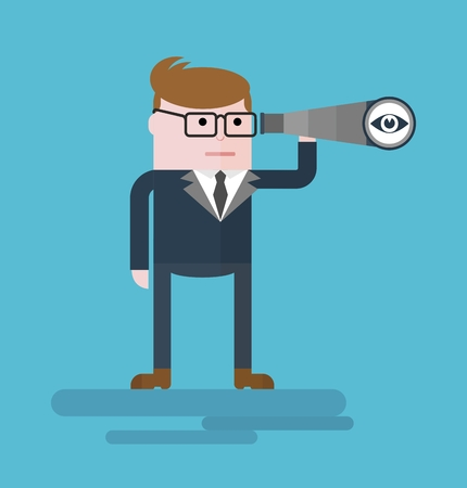 spyglass: Businessman with spyglass. Conceptual image of a businessman character. Cartoon flat vector illustration. Objects isolated on a background.