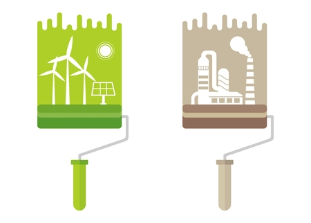 environmen: Paint roller paint clean and polluted nature. Ecology design concept with air, water and soil pollution. Flat icons isolated vector illustration.