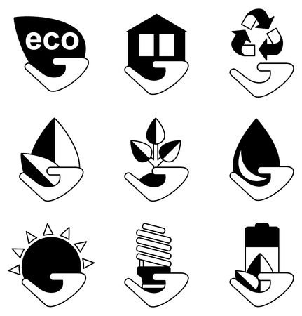 emission: ?¡onceptual image of a green energy and pollute.Ecology icons. Ecology icons set. Ecology icons flat. Ecology icons illustration. Cartoon flat vector illustration. Objects isolated on a background. Illustration