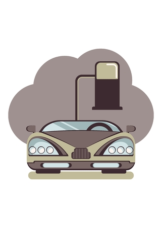toxic emissions: Ð¡onceptual image of a pollute cars. Cartoon flat vector illustration. Objects isolated on a background.