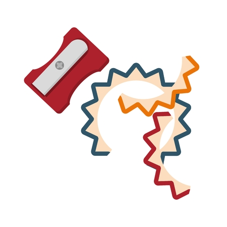 Short pencils and pencil sharpener. Conceptual image of a tool illustrator and artist.Cartoon flat vector illustration. Objects isolated on a background. Vectores