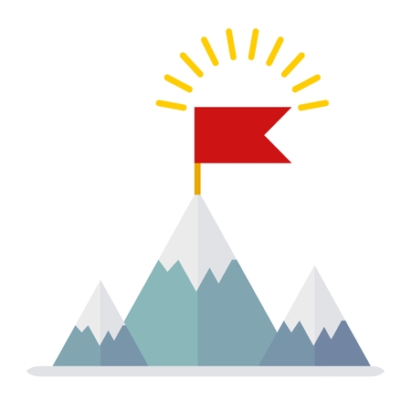 recompense: Conceptual image of victory. Flag of leader. The victory in the competition. Honors strongest party competition.Cartoon flat vector illustration. Objects isolated on a background. Illustration