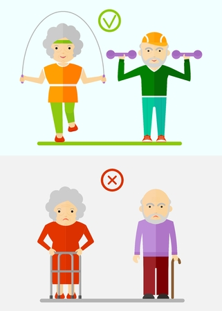 malaise: Healthy way of life of the elderly. Fitness for the elderly. Conceptual image of people of retirement age.Cartoon flat vector illustration. Objects isolated on a background.
