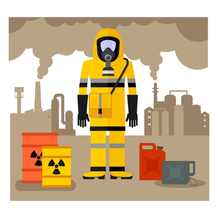 environmental disaster: Conceptual image of environmental pollution. Worker in a chemical protection suit, gas mask, overalls and gloves. Toxic waste.Cartoon flat vector illustration. Objects isolated on a background. Illustration
