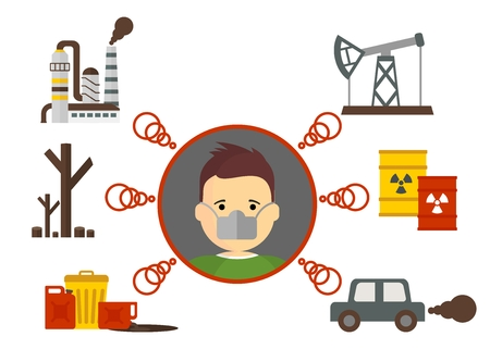 environmental disaster: Cartoon flat vector illustration. Objects isolated on a background.