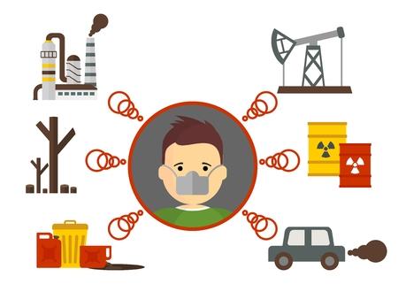 sustancias toxicas: ilustración vectorial de dibujos animados plana. Los objetos aislados sobre un fondo. Vectores