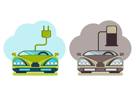 pollute: Сonceptual image of a green energy and pollute cars. Cartoon flat vector illustration. Objects isolated on a background.
