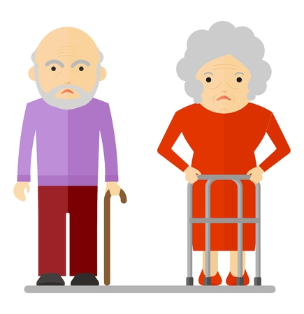 malaise: Sad elderly. Conceptual image of people of retirement age.Cartoon flat vector illustration. Objects isolated on a background. Illustration