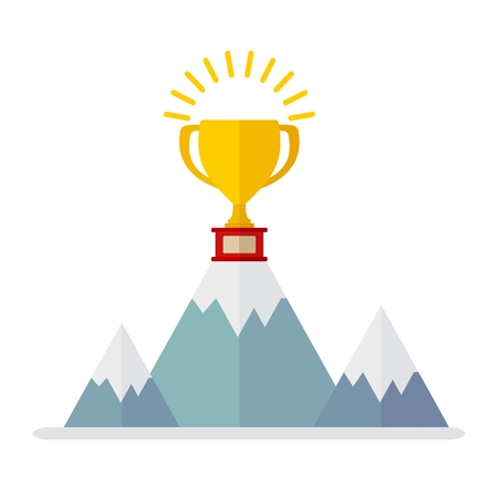 honors: Conceptual image of victory. Cup of leader. The victory in the competition. Honors strongest party competition.Cartoon flat vector illustration. Objects isolated on a background. Illustration