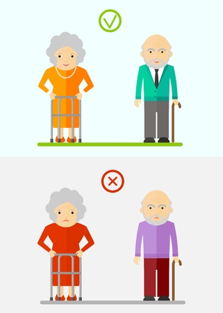malaise: Happy and sad elderly. Conceptual image of people of retirement age.Cartoon flat vector illustration. Objects isolated on a background.