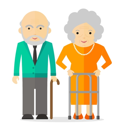 decrepit: Happy elderly. Conceptual image of people of retirement age.Cartoon flat vector illustration. Objects isolated on a background.