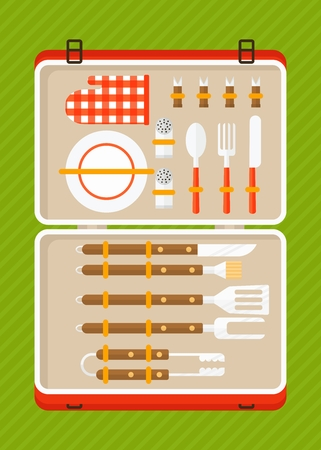 ice pack: Carry case with a set of tools for barbecue, grill menu.Cartoon flat vector illustration. Objects isolated on a background.