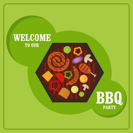 bbq ribs: BBQ Grill Party card. Image for barbecue party poster and invitation. Cartoon flat vector illustration. Objects isolated on a background.