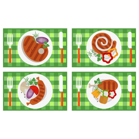 bbq ribs: Set of the grill menu products lay on a table. Top view. BBQ Grill Party card. Image for barbecue party poster and invitation. Cartoon flat vector illustration. Objects isolated on a background.