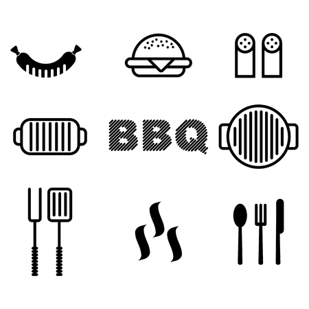 grill tongs sausage: Set of black grill and BBQ symbols and labels.Cartoon flat vector illustration. Objects isolated on a background.