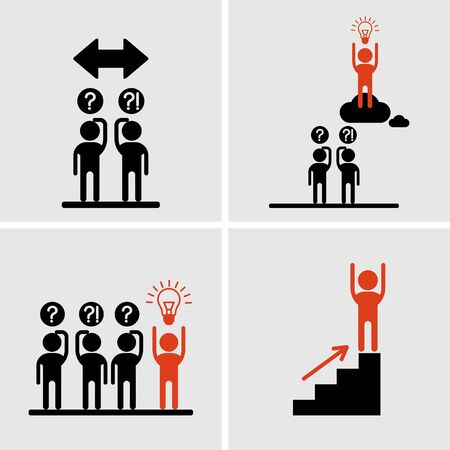 work force: Success and idea icons.Conceptual image competition winner.Cartoon flat vector illustration. Objects isolated on a background.