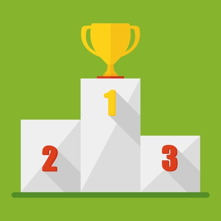 lectern: Victory Podium with first, second and third place. Conceptual image competition winner.Cartoon flat vector illustration. Objects isolated on a background.