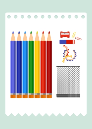 lay: Set of pencils lay on table.Cartoon flat vector illustration. Objects isolated on a background. Illustration