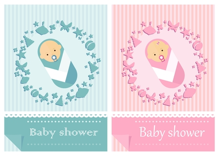babygirl: Baby-boy shower invitation. Baby-girl shower invitation. Template for card. Cartoon flat vector illustration. Objects isolated on a background. Illustration