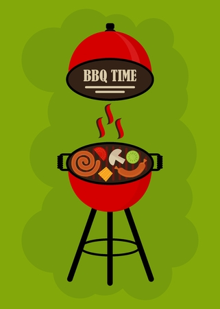 bbq ribs: BBQ Grill Party card. Template for barbecue party poster and invitation. Cartoon flat vector illustration. Objects isolated on a background.