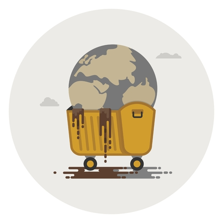 polluted: Polluted planet in a dumpster. Conceptual image of a bad environment and hagryazneniya water, air, soil.Objects isolated on a white background. Flat vector illustration. Illustration