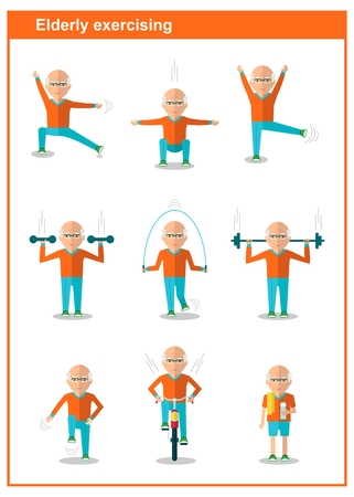 skipping rope: Elderly man and women doing exercises. Active lifestyle. Sport for grandparents. Bicycling, dumbbells, skipping rope. Objects isolated on a white background. Flat vector illustration.