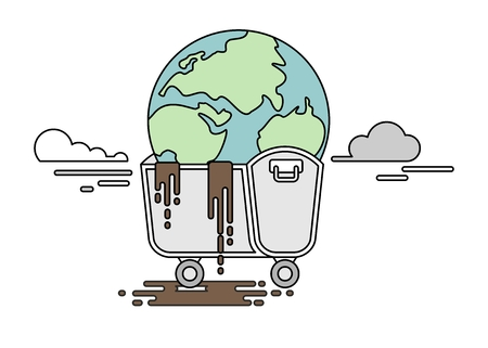 polluted: Polluted planet in a dumpster. Conceptual image of a bad environment and hagryazneniya water, air, soil.Objects isolated on a white background. Flat vector illustration.Lines image. Illustration