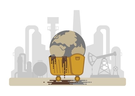 polluted: Polluted planet in a dumpster. Factories polluting the Earth.Conceptual image of a bad environment and hagryazneniya water, air, soil.Objects isolated on a white background. Flat vector illustration.