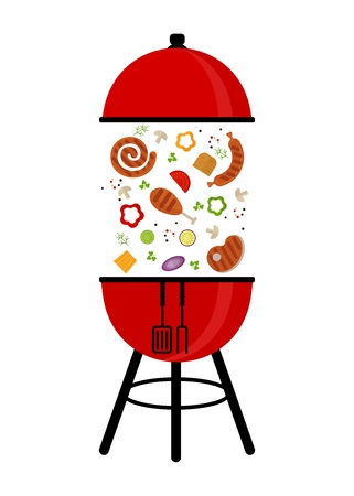grill tongs sausage: BBQ Grill Party card. Template for barbecue party poster and invitation. Cartoon flat vector illustration. Objects isolated on a background.