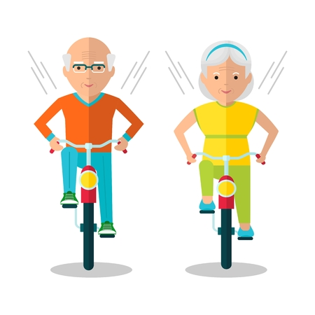 Old man and old woman riding bikes. Healthy lifestyle, active lifestyle. Sport for grandparents. Objects isolated on a white background. Flat vector illustration.