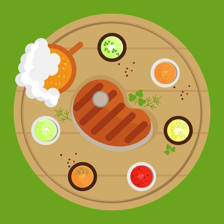 grill tongs sausage: Set of the grill menu products lay on a table. Top view. BBQ Grill Party card. Image for barbecue party poster and invitation. Cartoon flat vector illustration. Objects isolated on a background.