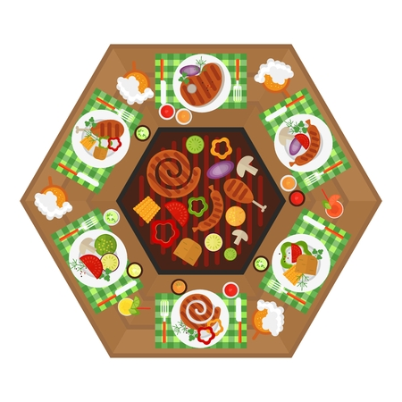 bbq ribs: BBQ Grill table for Party. Top view. Image for barbecue party card, poster and invitation. Cartoon flat vector illustration. Objects isolated on a background.