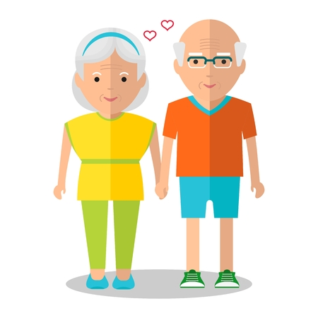 senior exercise: Elderly people walking. Holding hands couple. Love in the family. Healthy lifestyle.Objects isolated on a white background. Flat vector illustration.