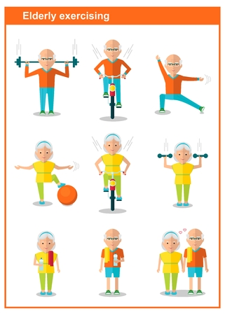senior exercise: Elderly man doing exercises. Healthy lifestyle, active lifestyle. Sport for grandparents.Holding hands couple.Objects isolated on a white background. Flat vector illustration.