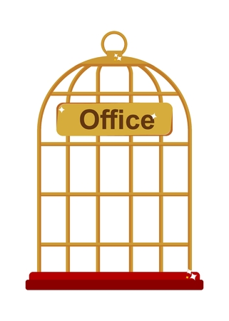 confined: Office work as the reliable gold birdcase. Flat vector illustration. Isolated objects.