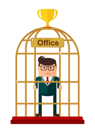 coop: Conceptual image of office work. Office for bird cage. Flat vector illustration. Isolated objects. Illustration