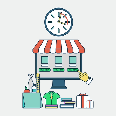 ordering: Quick order and save time when ordering via the Internet. Effective time management.Icons for mobile marketing and online shopping. Cartoon flat illustration. Objects isolated on a background. Illustration