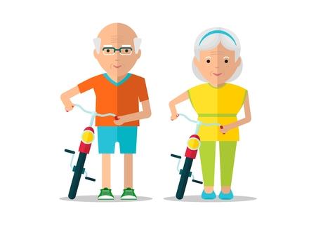 高齢者のカップル、自転車で散歩。アクティブなライフ スタイル。調和のとれた関係。家族と理解。オブジェクトを白い背景に分離します。フラッ  イラスト・ベクター素材