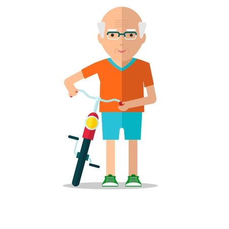 mature: Senior man on a walk on the bike. Active lifestyle. Harmonious relations. Family and understanding.Objects isolated on a white background. Flat illustration.